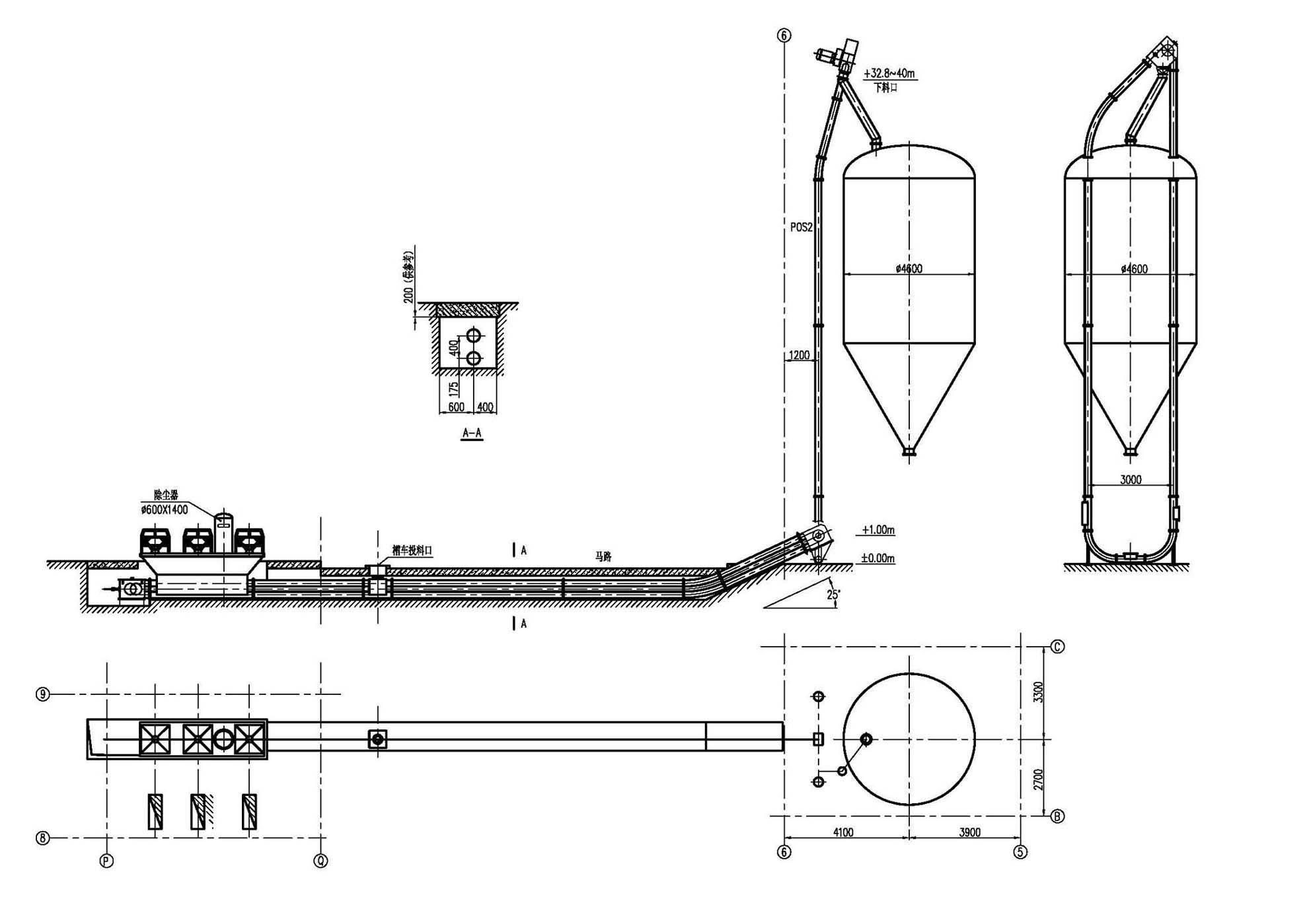 聚酯装置pta链板输送系统典型结构图